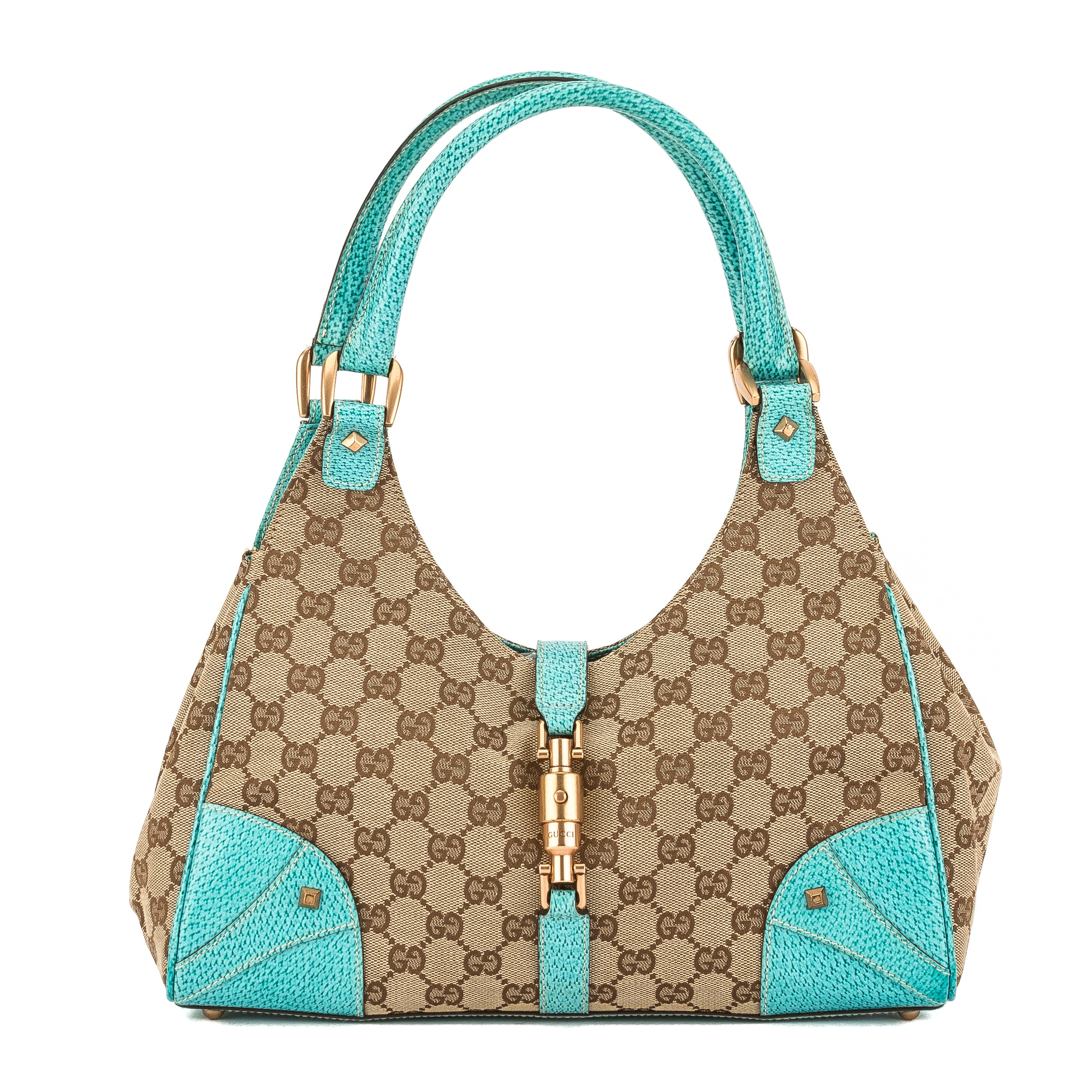 91e58fa758f391 Gucci Turquoise Leather GG Monogram Canvas Jackie Bag (Pre Owned ...