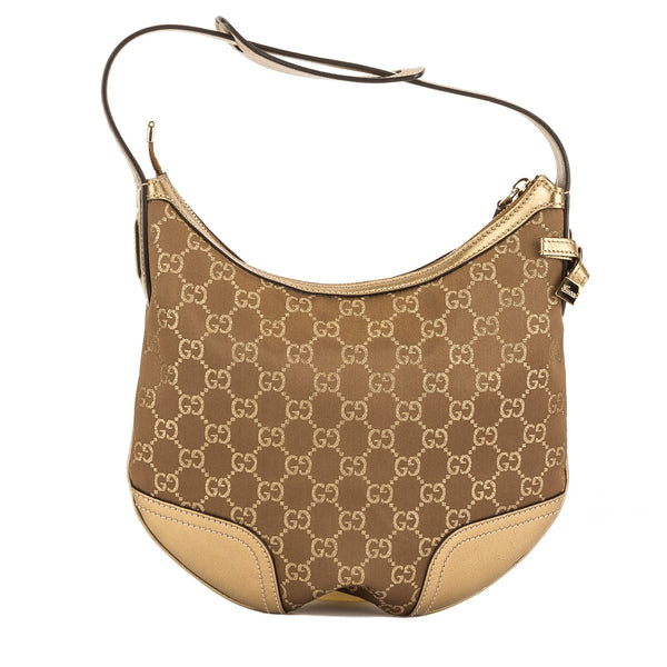 Gucci Gold Leather GG Jacquard Canvas Shoulder Bag (Pre Owned ... 02499e7537bb2