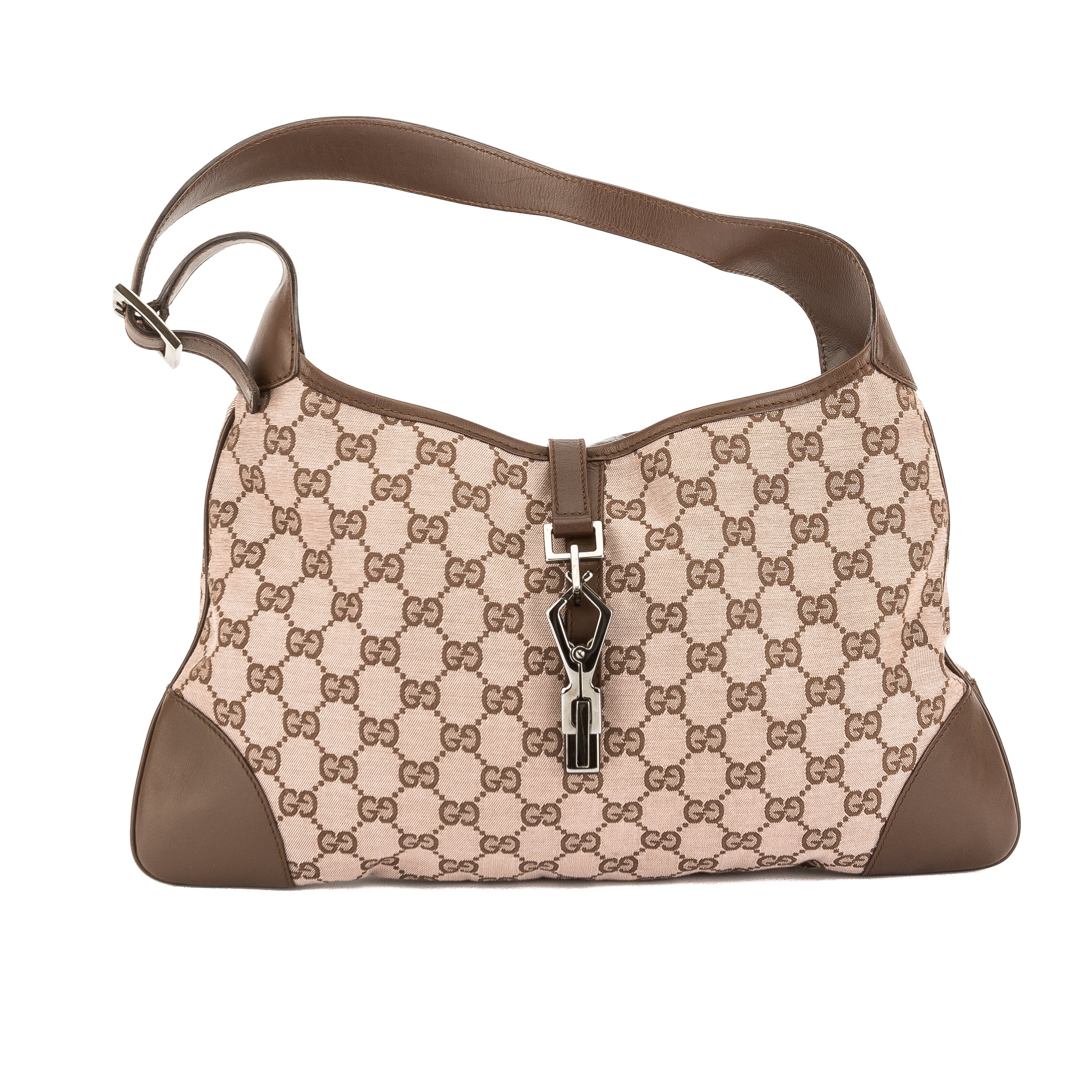 27c1626483a3 Gucci Brown GG Jacquard Canvas Guccisima Jackie Bag (Pre Owned ...