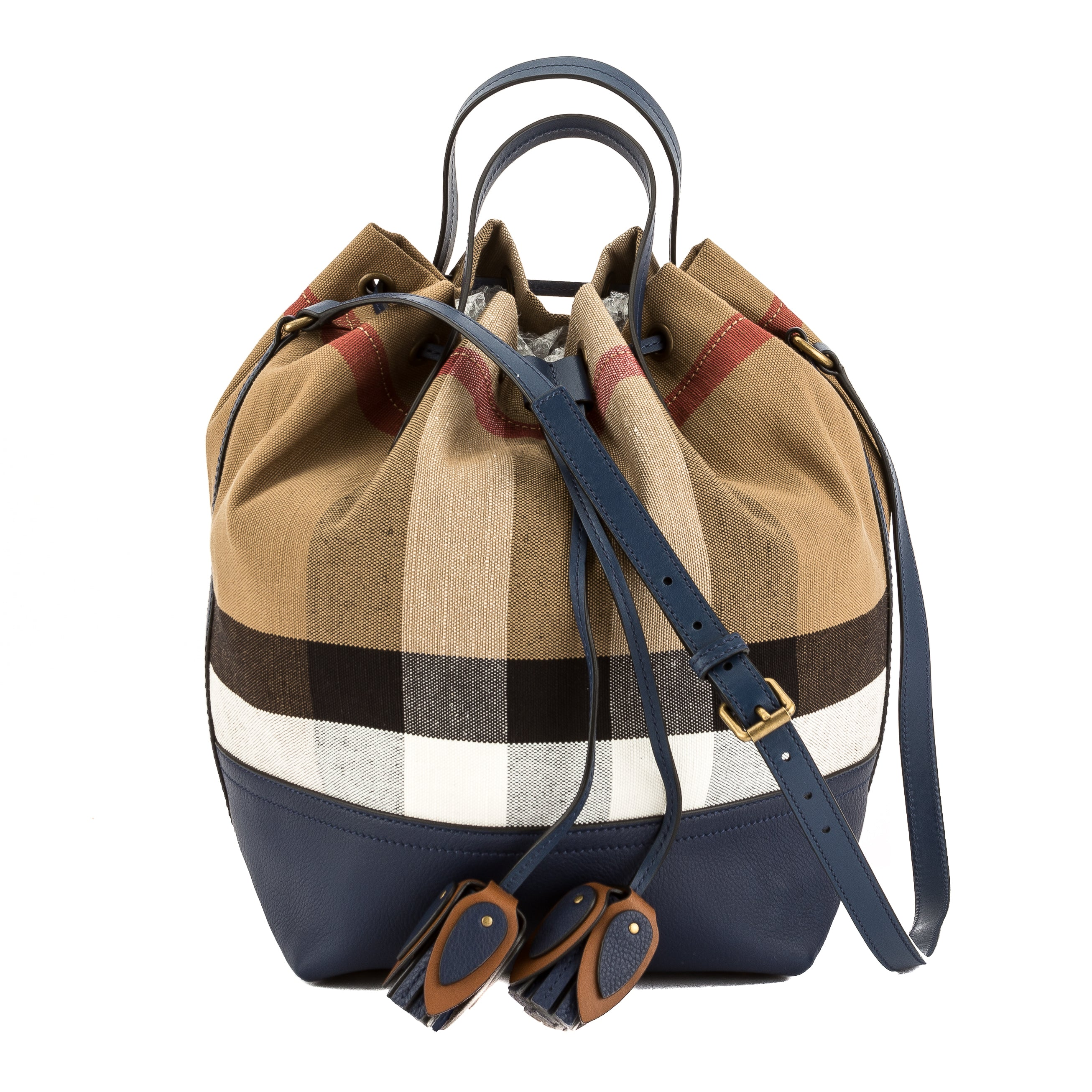 bafa41a93e66 Burberry Brilliant Navy Leather and Canvas Check Small Bucket Bag New with  Tags