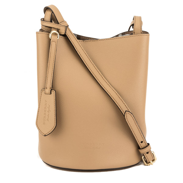 9fc16ce1c31d Burberry Mid Camel Leather and Haymarket Check Crossbody Bucket Bag New  with Tags. This item is no longer available
