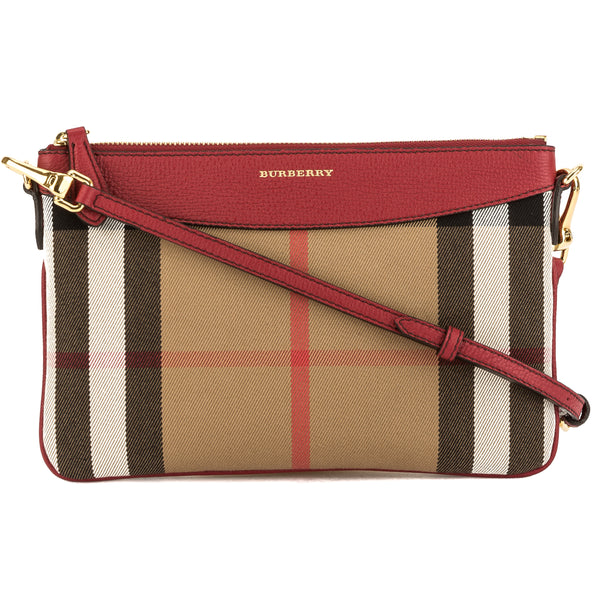 cccd52a01e Burberry Military Red Leather and House Check Clutch Bag (3742008 ...