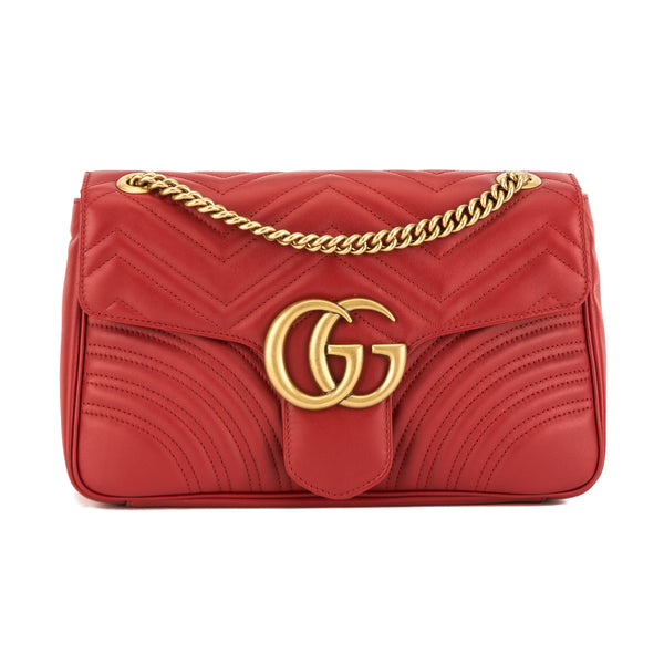 42ecc4d5cff9 Gucci Hibiscus Red Leather GG Marmont Medium Matelasse Shoulder Bag New  with Tags