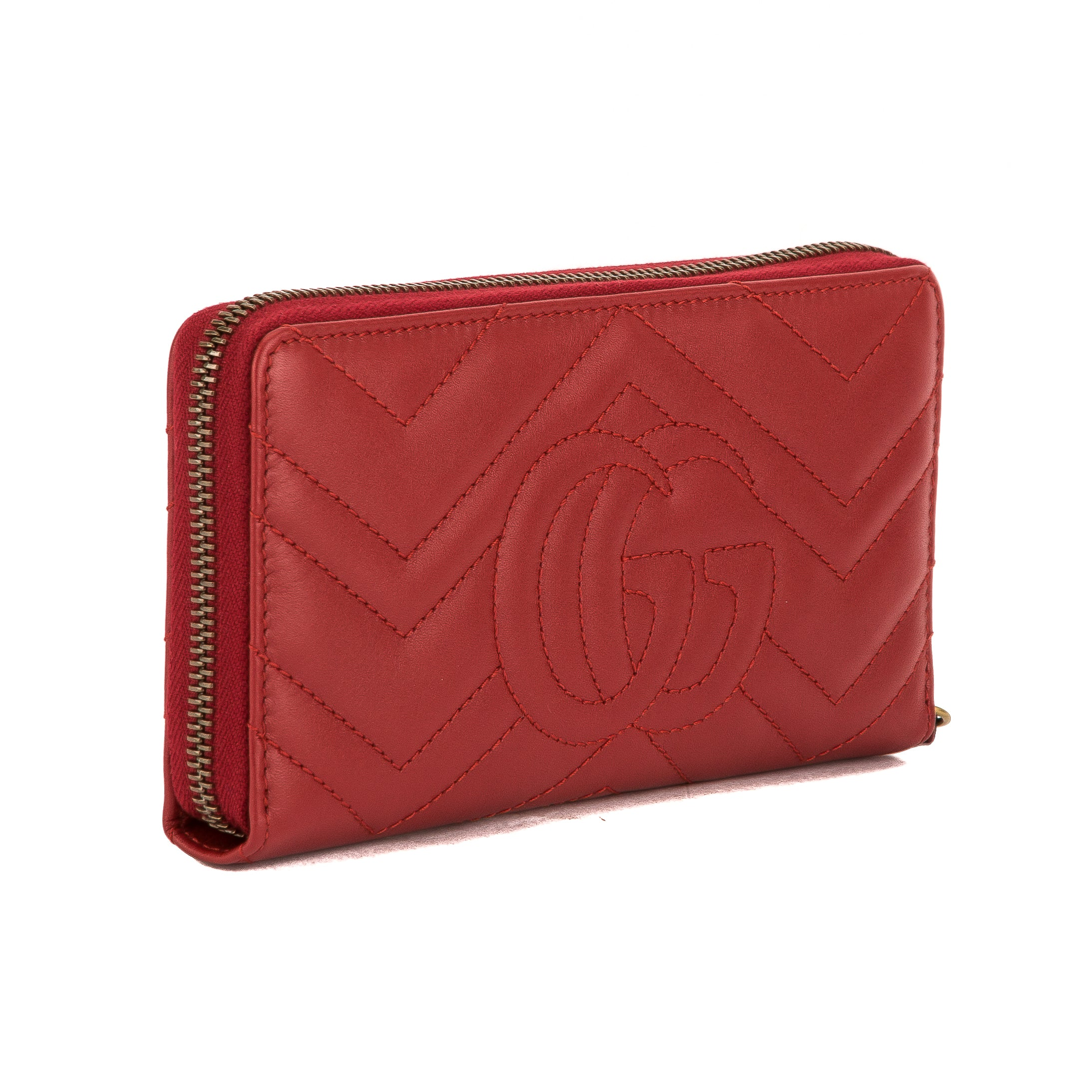 cf8aca557d1 Gucci Hibiscus Red Leather GG Marmont Zip Around Wallet (New with Tags -  3743004