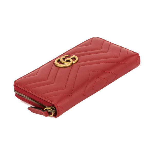 d7f3de39ea8 Gucci Hibiscus Red Leather GG Marmont Zip Around Wallet (New with ...