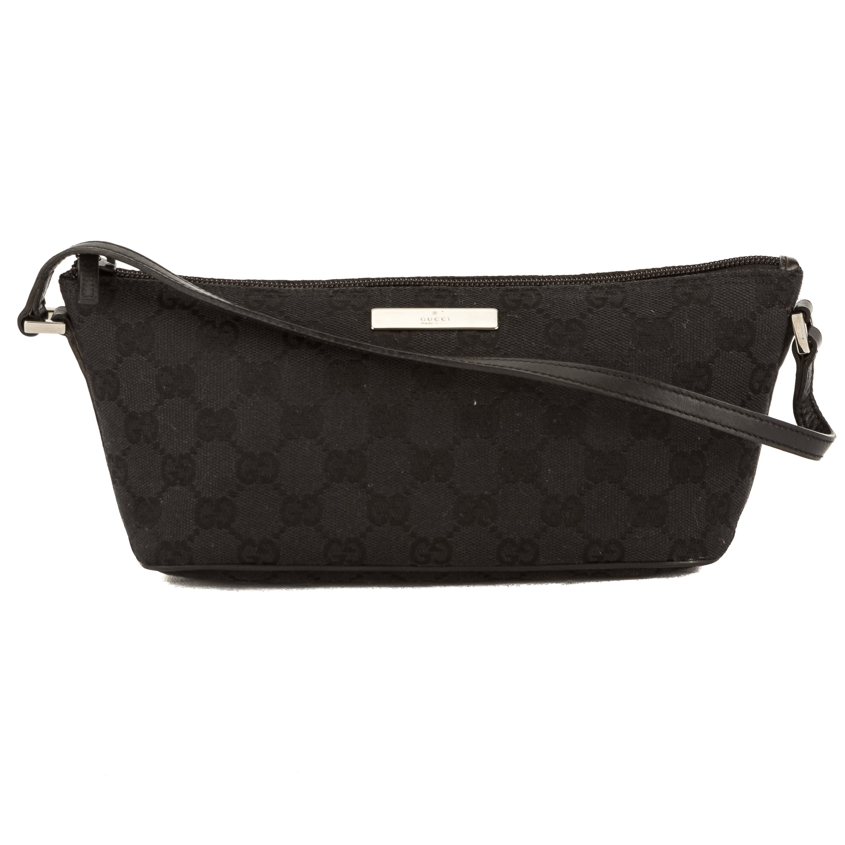 841cd8abce9 Gucci Black Leather GG Monogram Canvas Pochette (Pre Owned ...