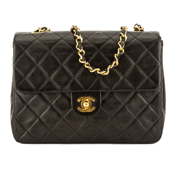 efd59a26ab7d Chanel Black Quilted Lambskin Leather Mini Square Classic Flap Bag Pre Owned
