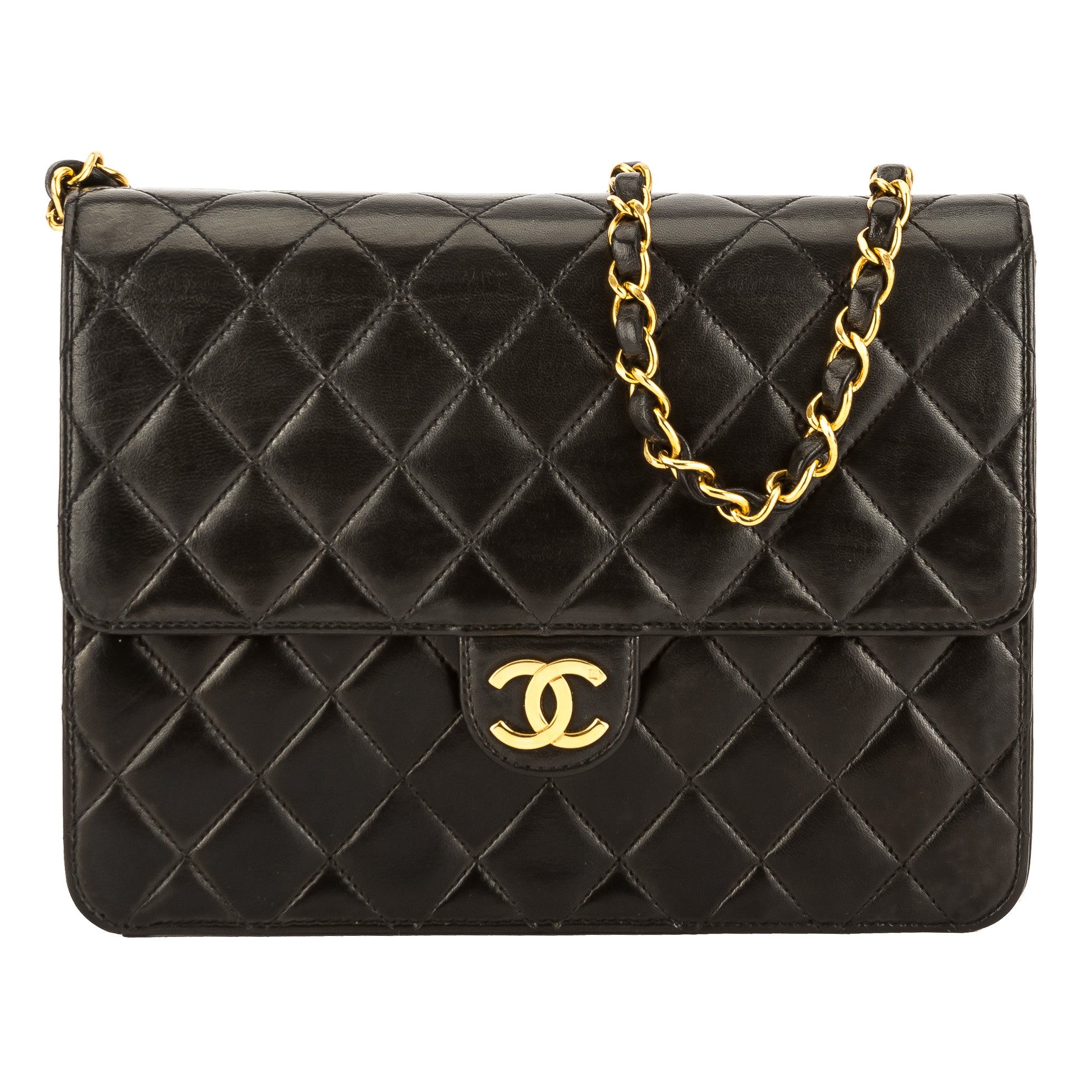 d2f7e3d1144b Chanel Black Quilted Lambskin Leather Chain Clutch Bag (3755009 ...