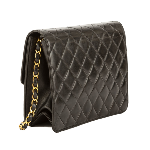 47ac2744be4f ... Chanel Black Quilted Lambskin Leather Chain Clutch Bag (3755009) ...