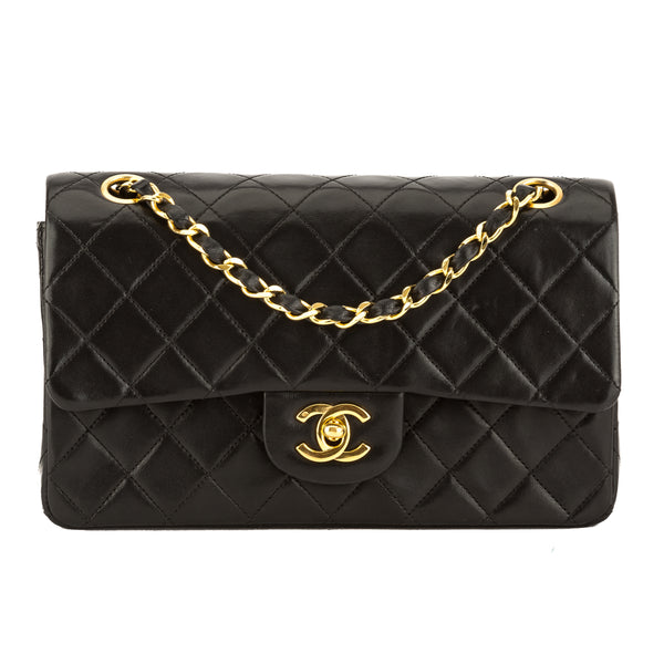 cd7e6f4aeb44 Chanel Black Quilted Lambskin Leather Small Double Flap Bag Pre Owned