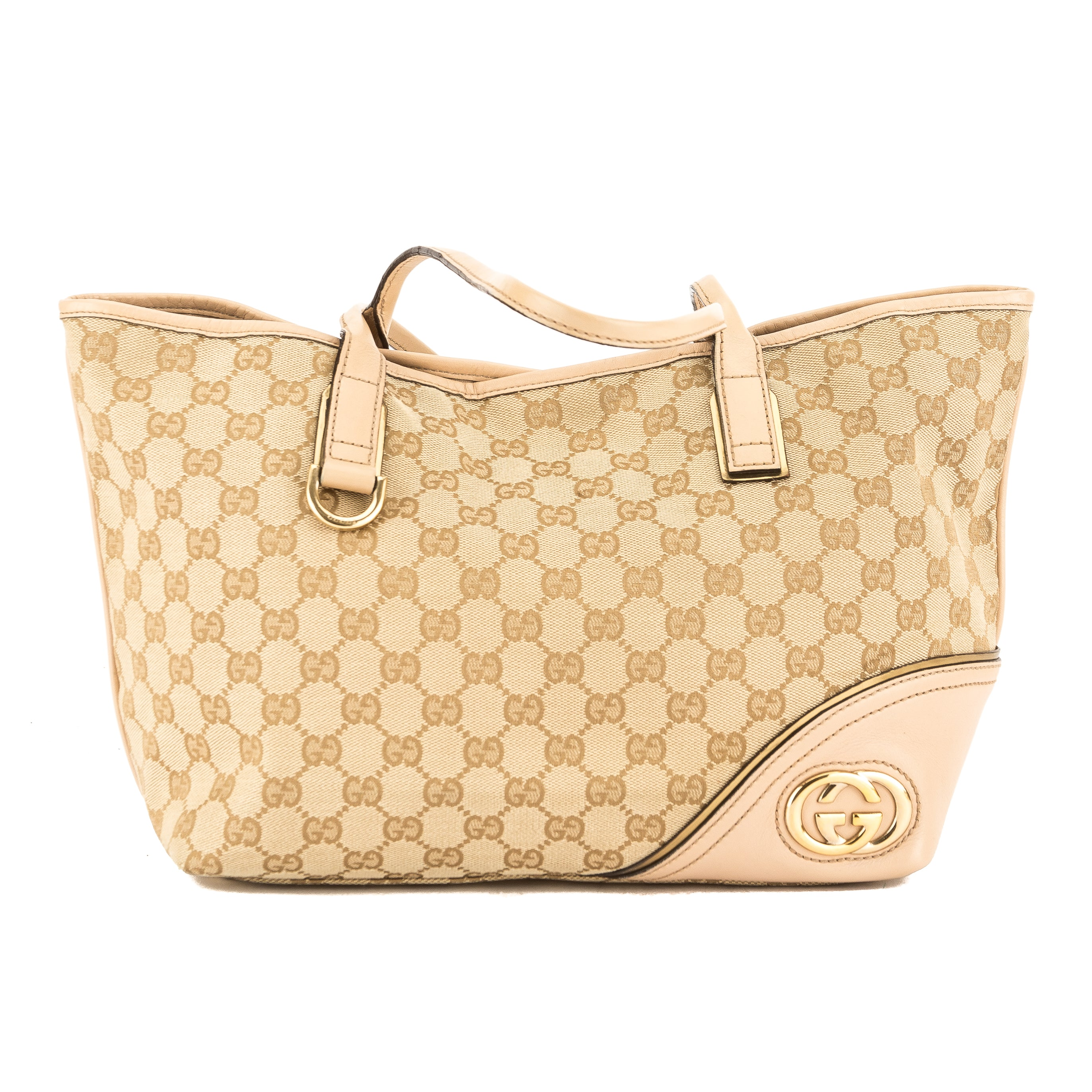 635c5a4727f9 Gucci Beige Leather GG Jacquard Canvas Guccisima Britt Tote (Pre ...