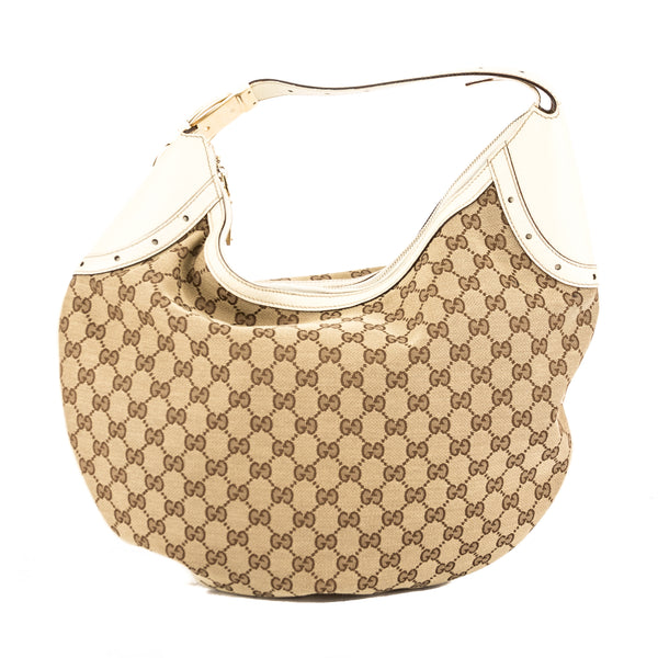 9d0b4327d8d Gucci Ivory Leather GG Supreme Canvas Hobo Bag (Pre Owned) - 3765005 ...