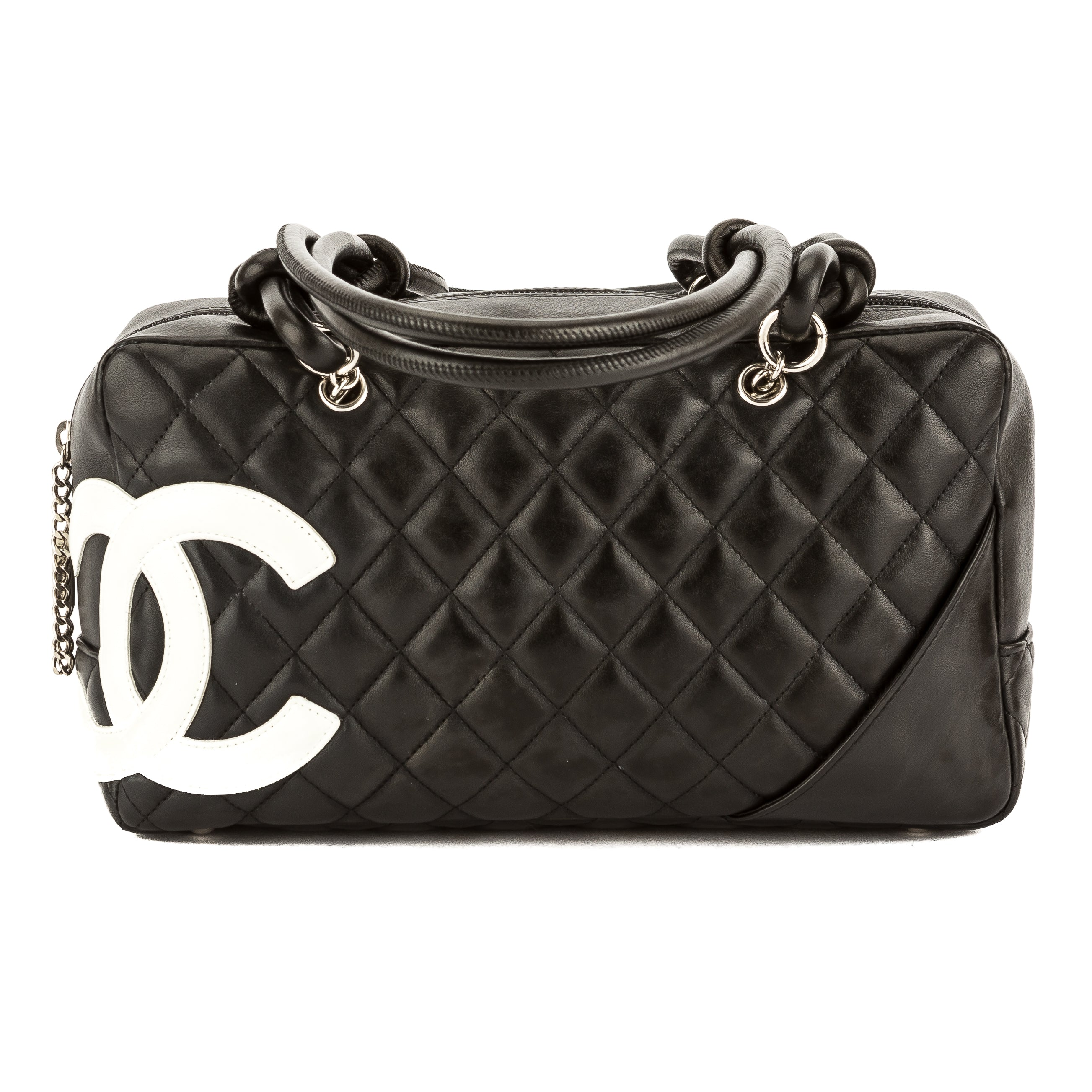 1d0c8a2d3614 Chanel Black Quilted Calfskin Leather Cambon Ligne Bowler Bag Pre Owned