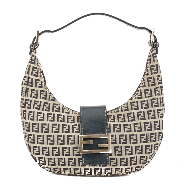 871600ff4335 Fendi Blue Leather Zucca Canvas Hobo Bag (Pre Owned) - 3775014