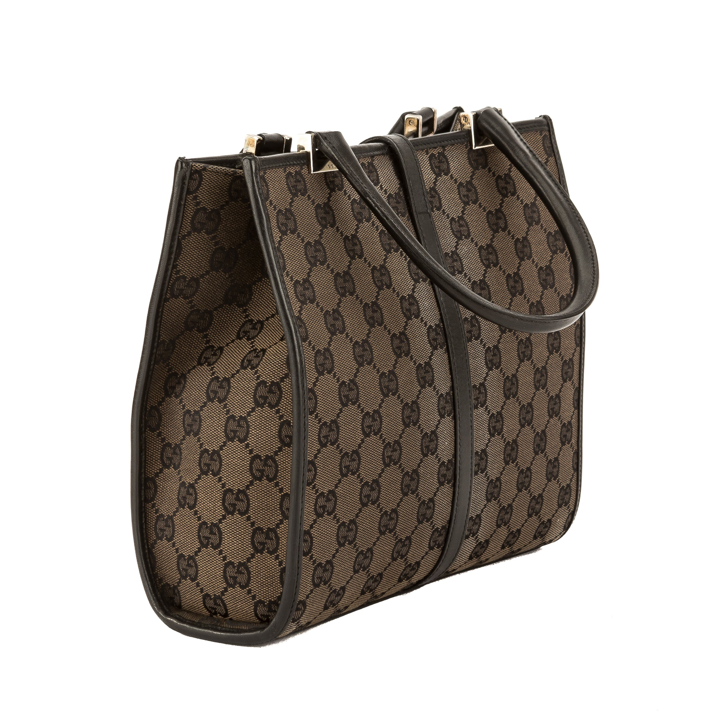 45181320b013a1 Gucci Black Leather GG Monogram Canvas Jackie Tote (Pre Owned ...