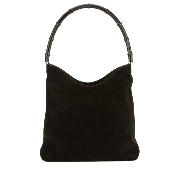 2a7c358451c7f Gucci Black Suede Bamboo Shoulder Bag (Pre Owned) - 3777003
