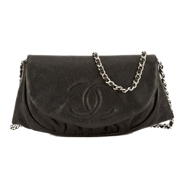 042f2ab3a068 Chanel Black Caviar Leather Half Moon Wallet On Chain WOC Bag Pre Owned