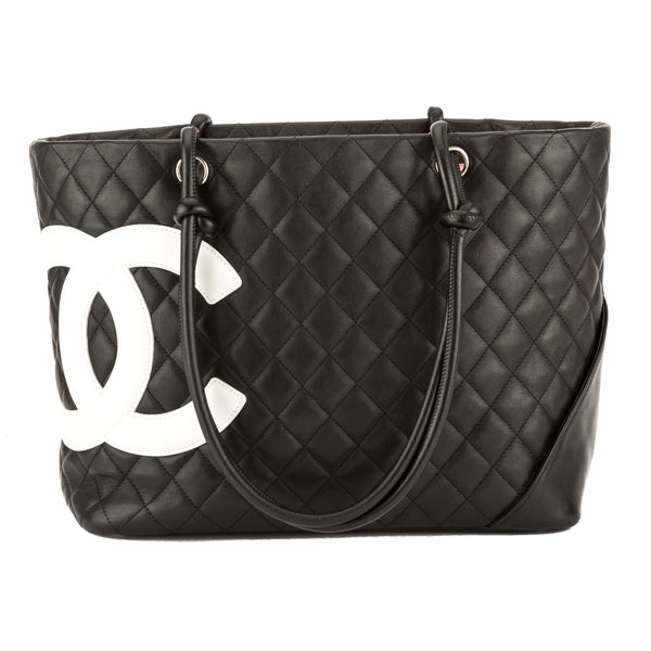 9491a0d25ea1 Chanel Black Quilted Calfskin Leather Cambon Ligne Large Tote Pre Owned