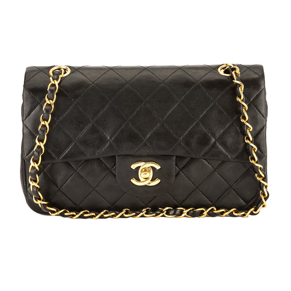 fa617684a726 Chanel Black Quilted Lambskin Leather Medium Double Flap Bag Pre Owned