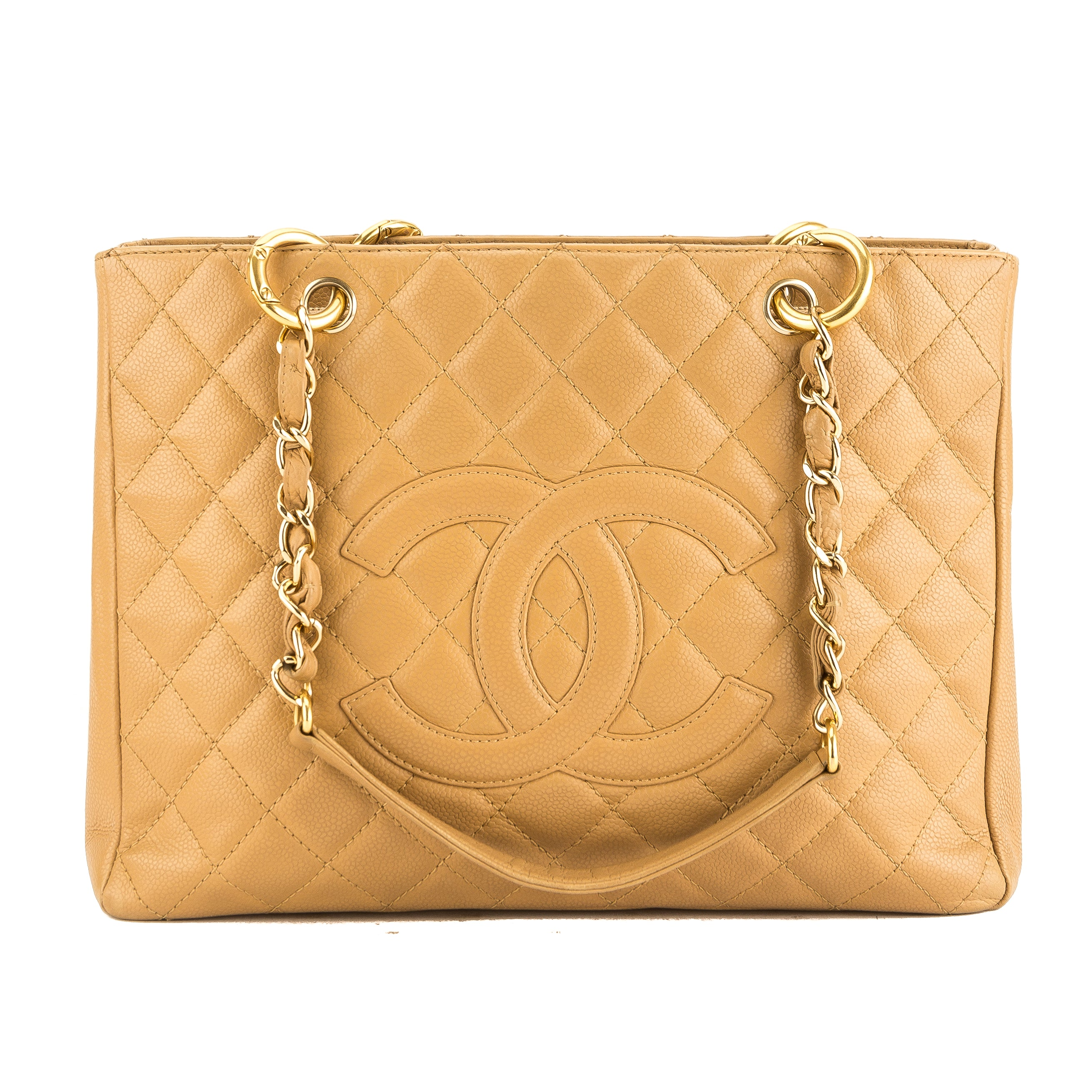 650336d6e1a5 Chanel Beige Quilted Caviar Leather Grand Shopping Tote GST Bag Pre Owned
