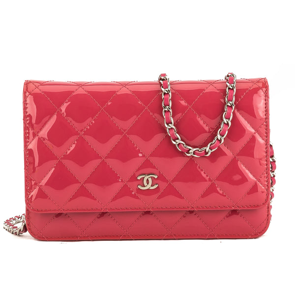 b81c592b0bdb Chanel Pink Quilted Patent Leather Brilliant Wallet On Chain WOC Bag Pre  Owned