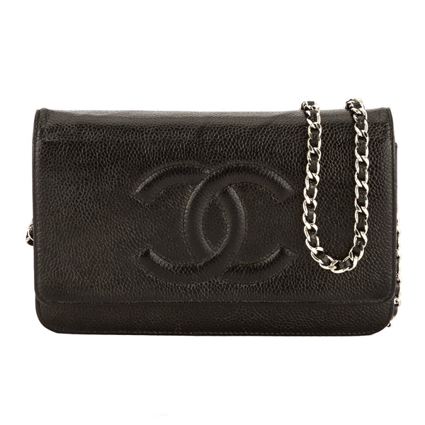Chanel Black Quilted Caviar Leather Classic Wallet On Chain WOC ... : chanel woc classic quilted bag - Adamdwight.com
