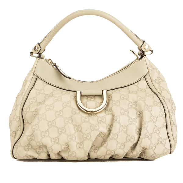 34de917a15e Gucci Ivory Guccisima Leather Abbey D-Ring Hobo Bag (Pre Owned ...