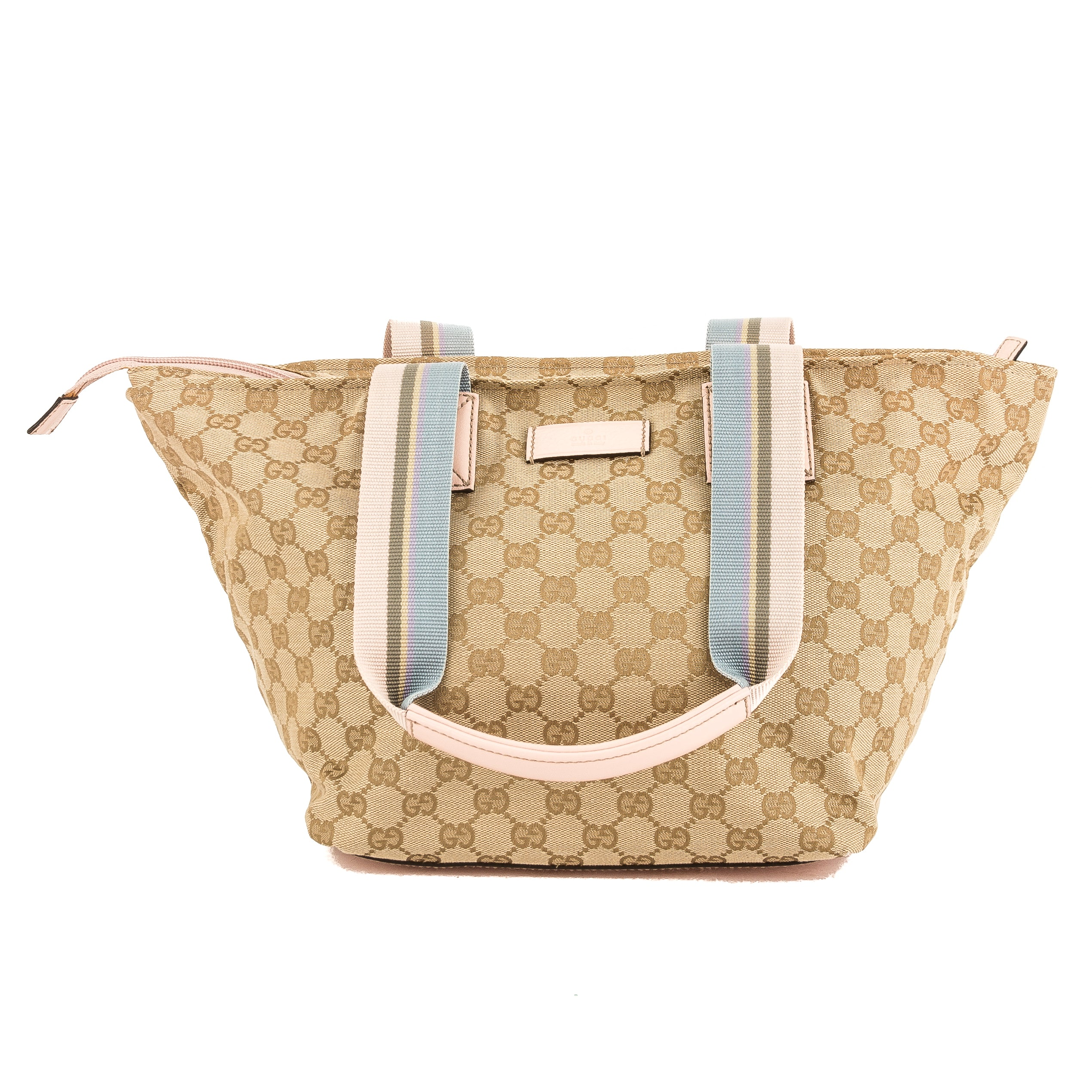 6af52cbb6672 Gucci Pink Leather GG Monogram Canvas Web Tote Bag (Pre Owned ...
