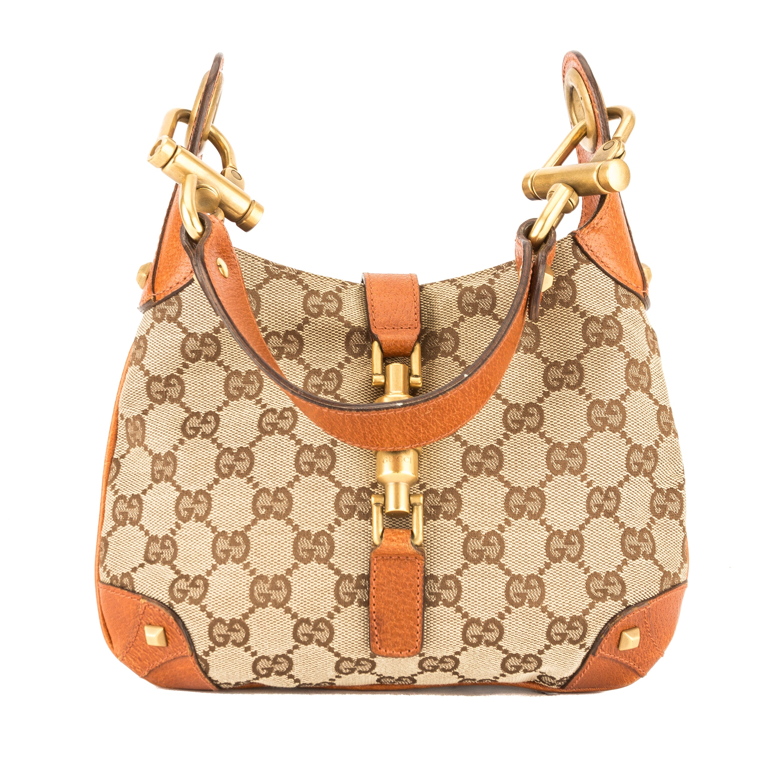 Gucci Tan Leather GG Monogram Canvas Jackie O Bag (Pre Owned ... f2273d74b2bb0