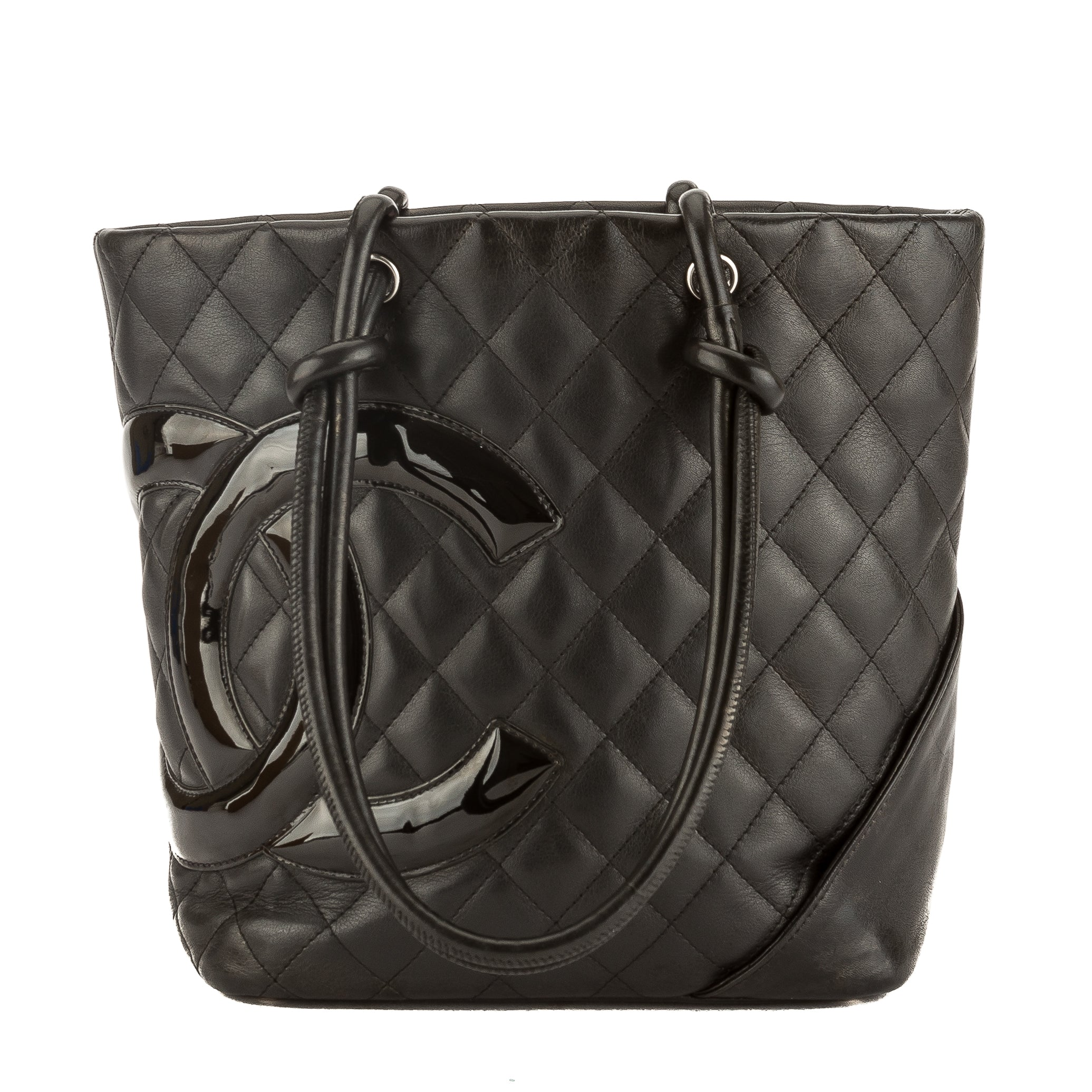 840670967217 Chanel Black Quilted Calfskin Leather Cambon Ligne Medium Tote Pre Owned