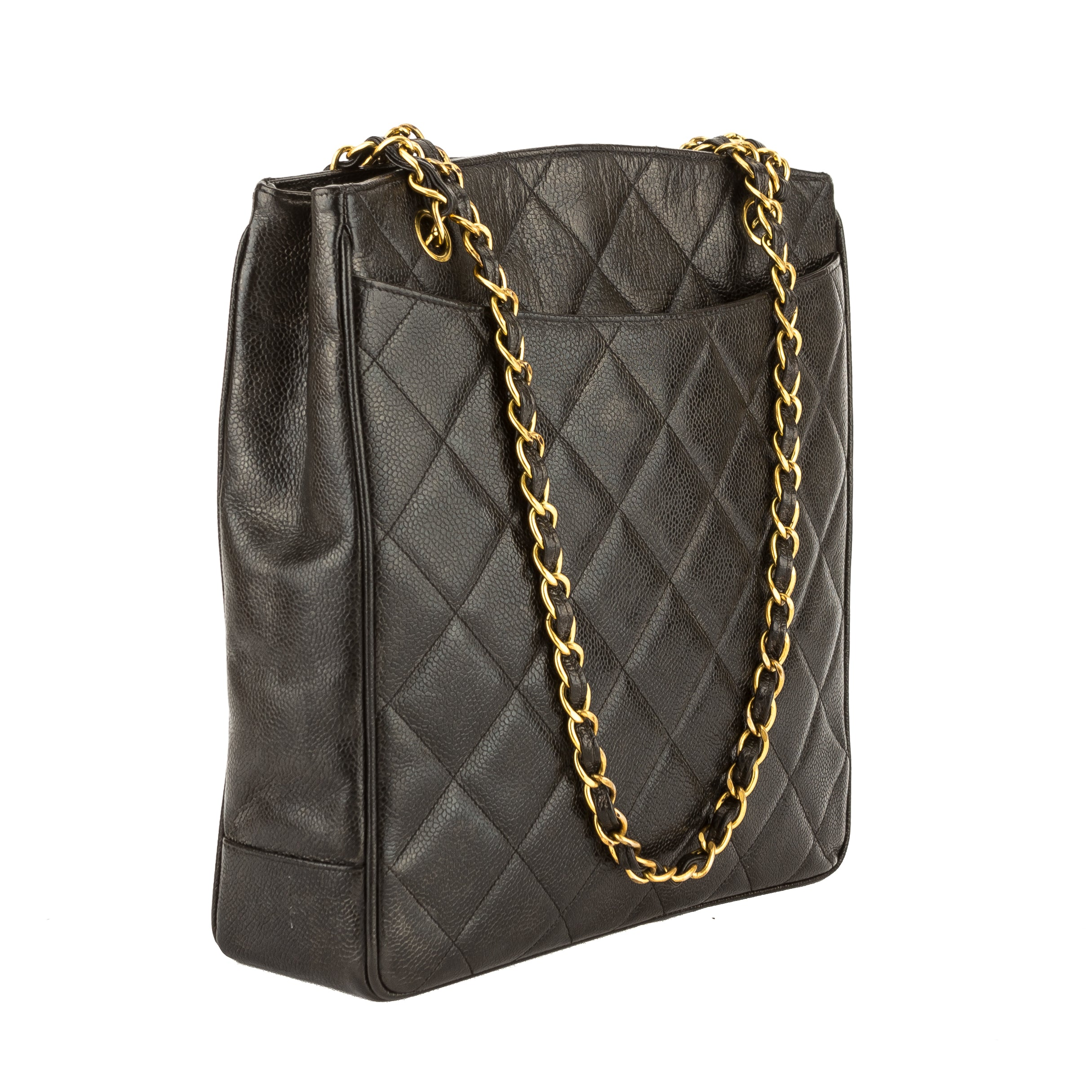 fa37584ebb7715 Chanel Black Quilted Caviar Leather Chain Shoulder Bag (Pre Owned ...