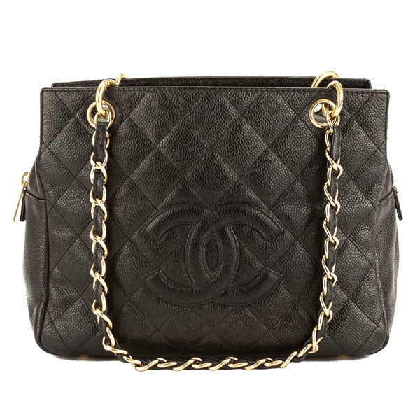 4a5369ff54f9 Chanel Black Quilted Caviar Leather Small Shopper Tote Bag Pre Owned