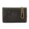 Chanel Black Caviar Leather Wallet On Chain WOC Bag  (Pre Owned)