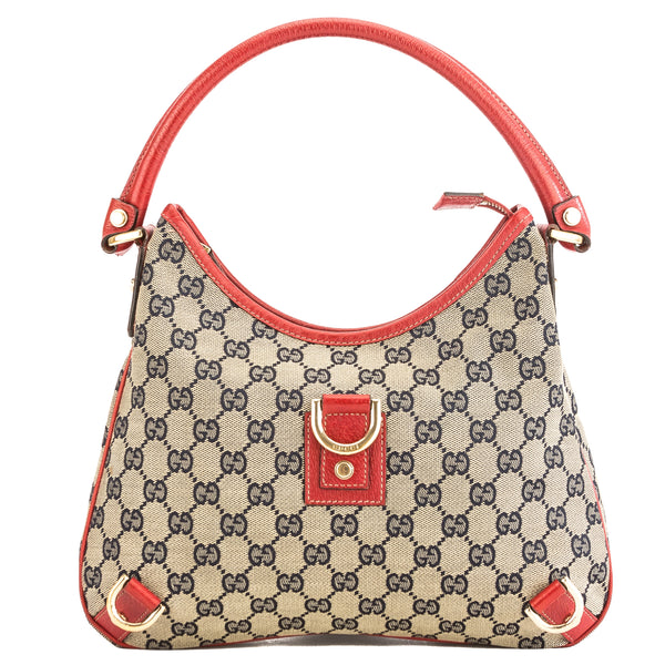 cf16e91786d Gucci Red Leather GG Monogram Canvas Abbey D-Ring Hobo Bag Pre Owned