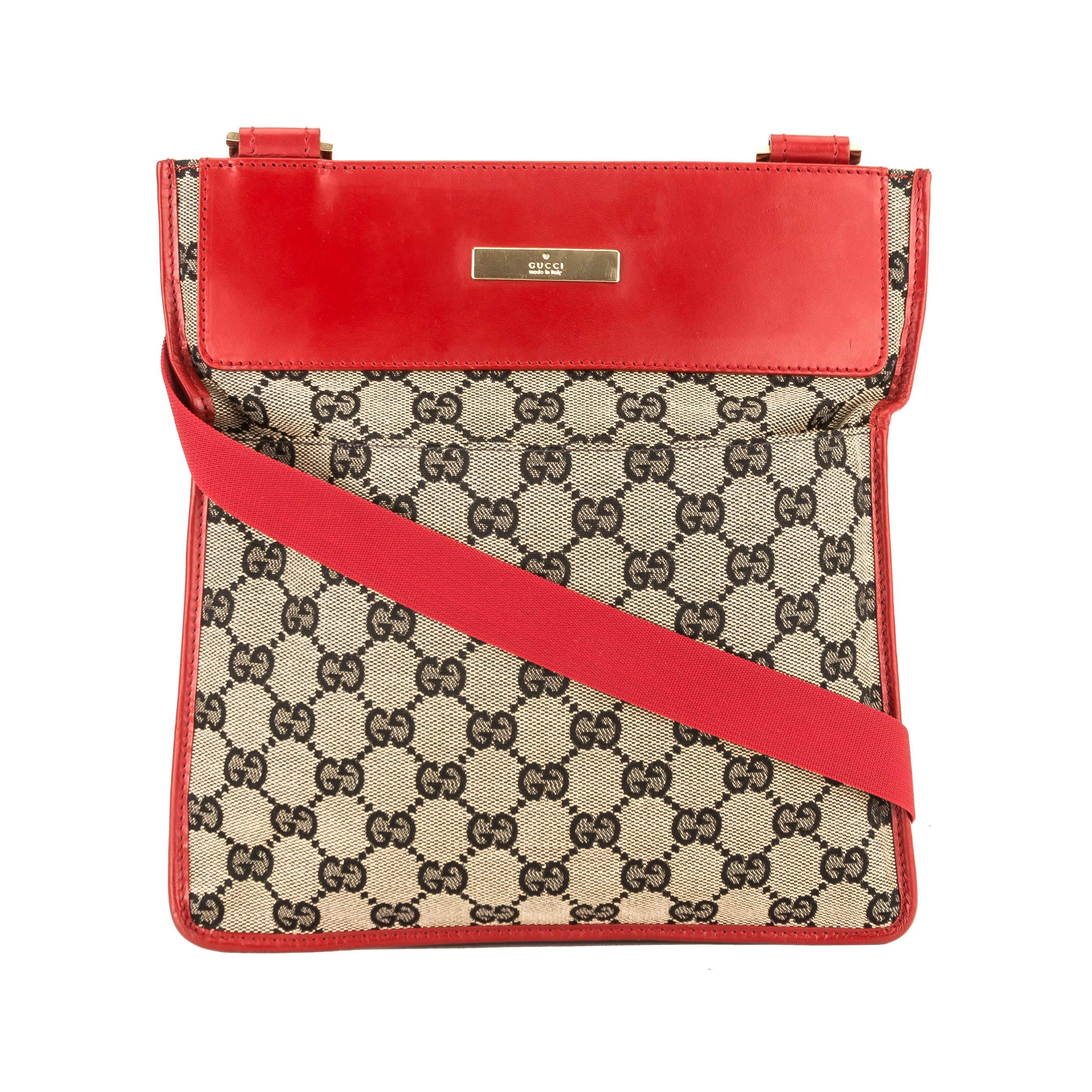 890b1f9696d Gucci Red Leather GG Monogram Canvas Sling Bag (Pre Owned) - 3811005 ...