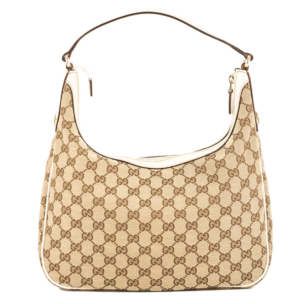 Gucci Ivory Leather GG Monogram Canvas Hobo Bag (Pre Owned ... 3e00cecddadad