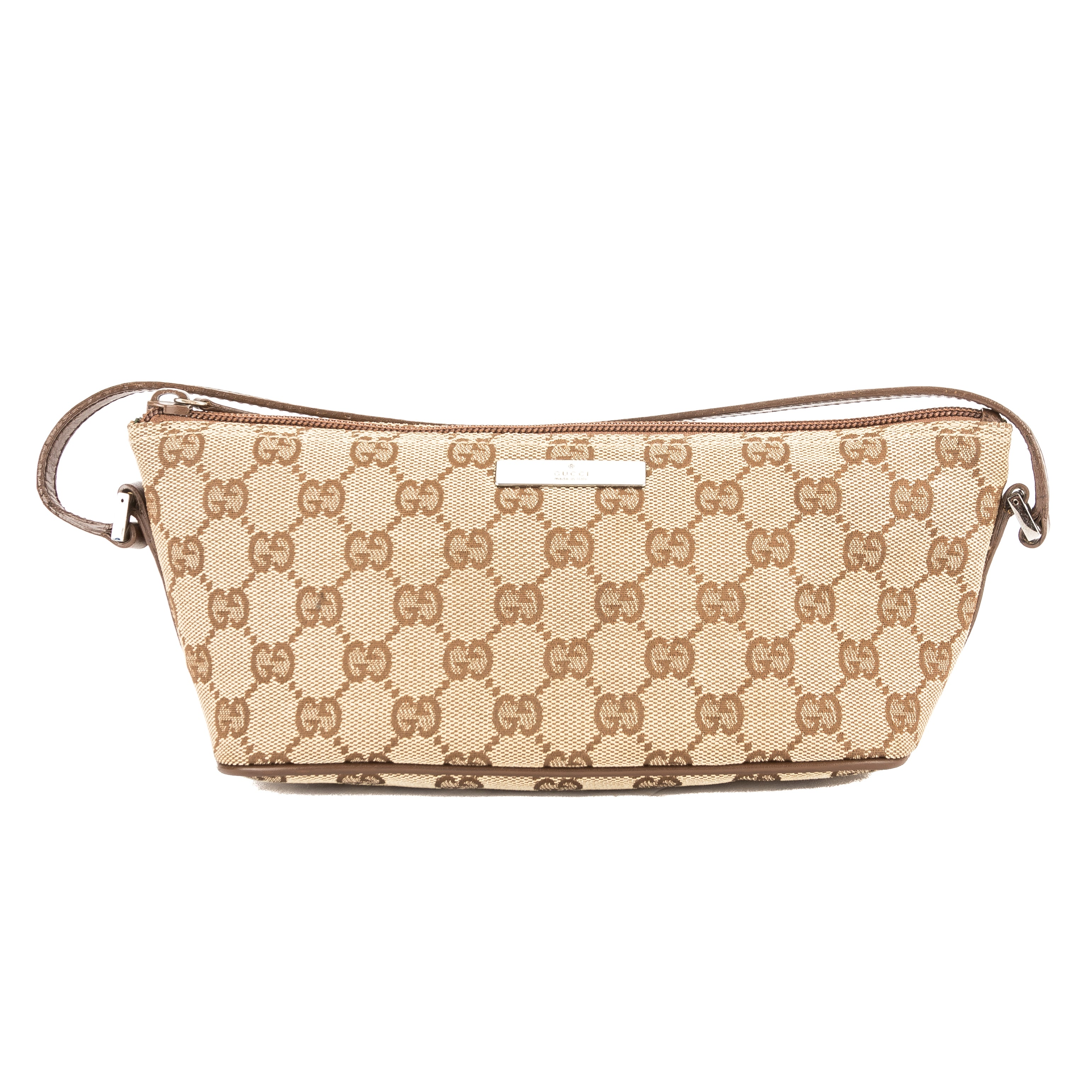 21a920723c9a Gucci Brown Leather GG Monogram Canvas Pochette Bag (Pre Owned ...