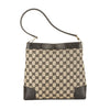 Gucci Black Leather GG Monogram Canvas Shoulder Bag (Pre Owned)