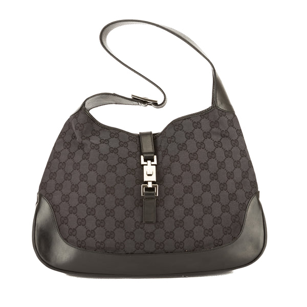 b63d39c4597 Gucci Black Leather GG Monogram Canvas Jackie Bag (Pre Owned ...