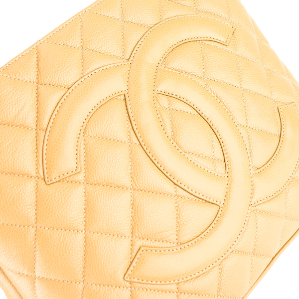 Chanel Beige Quilted Caviar Leather Medallion Tote Bag (3814013)