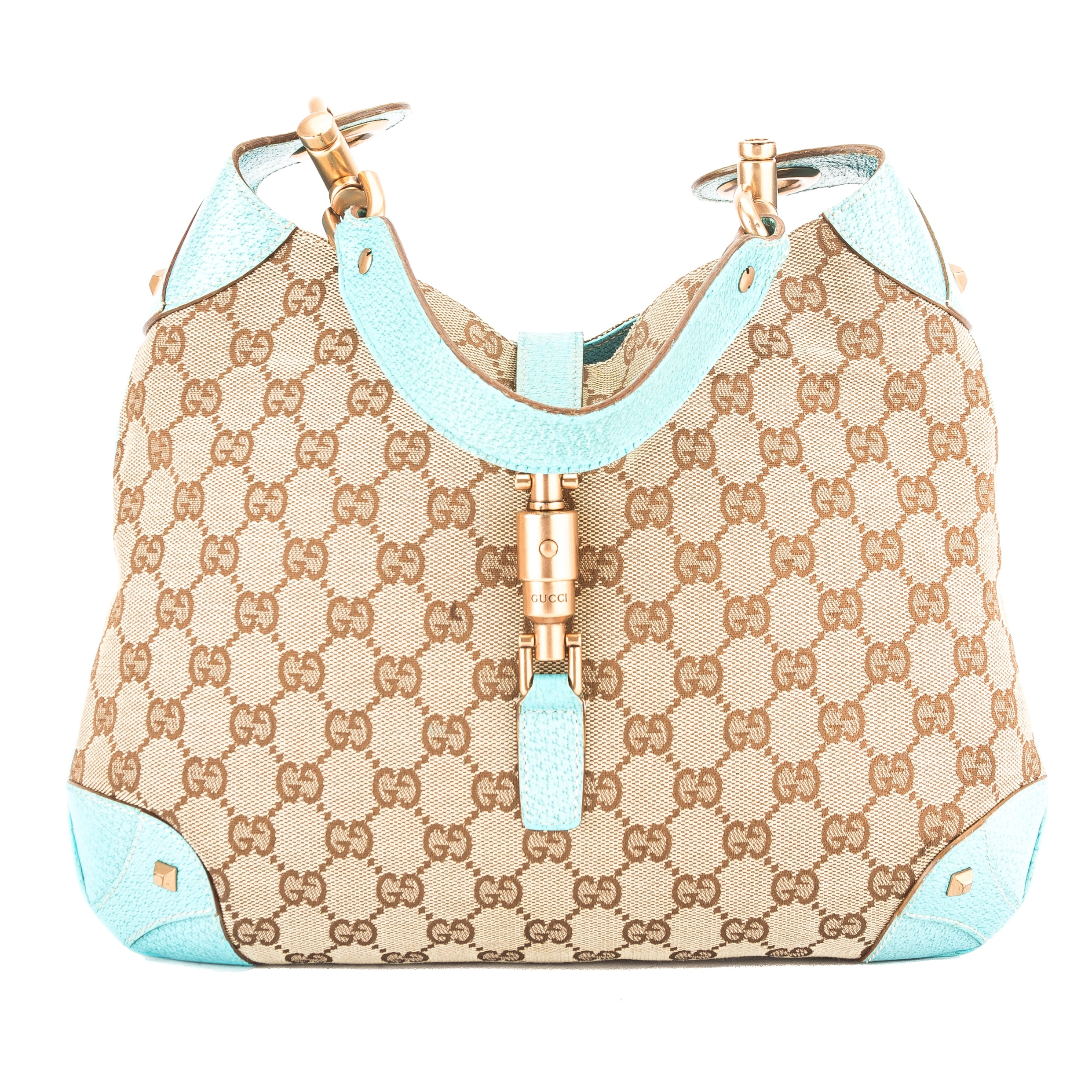 92e36c5f34a Gucci Turquoise Leather GG Monogram Canvas Jackie Hobo Bag Pre Owned