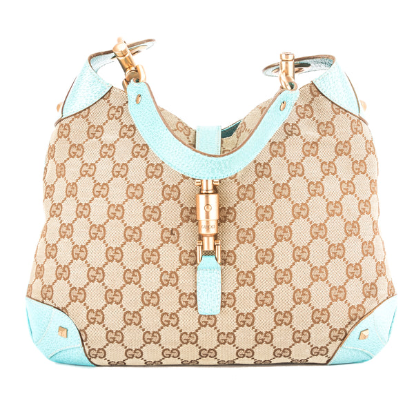 Gucci Turquoise Leather GG Monogram Canvas Jackie Hobo Bag (Pre Owned)