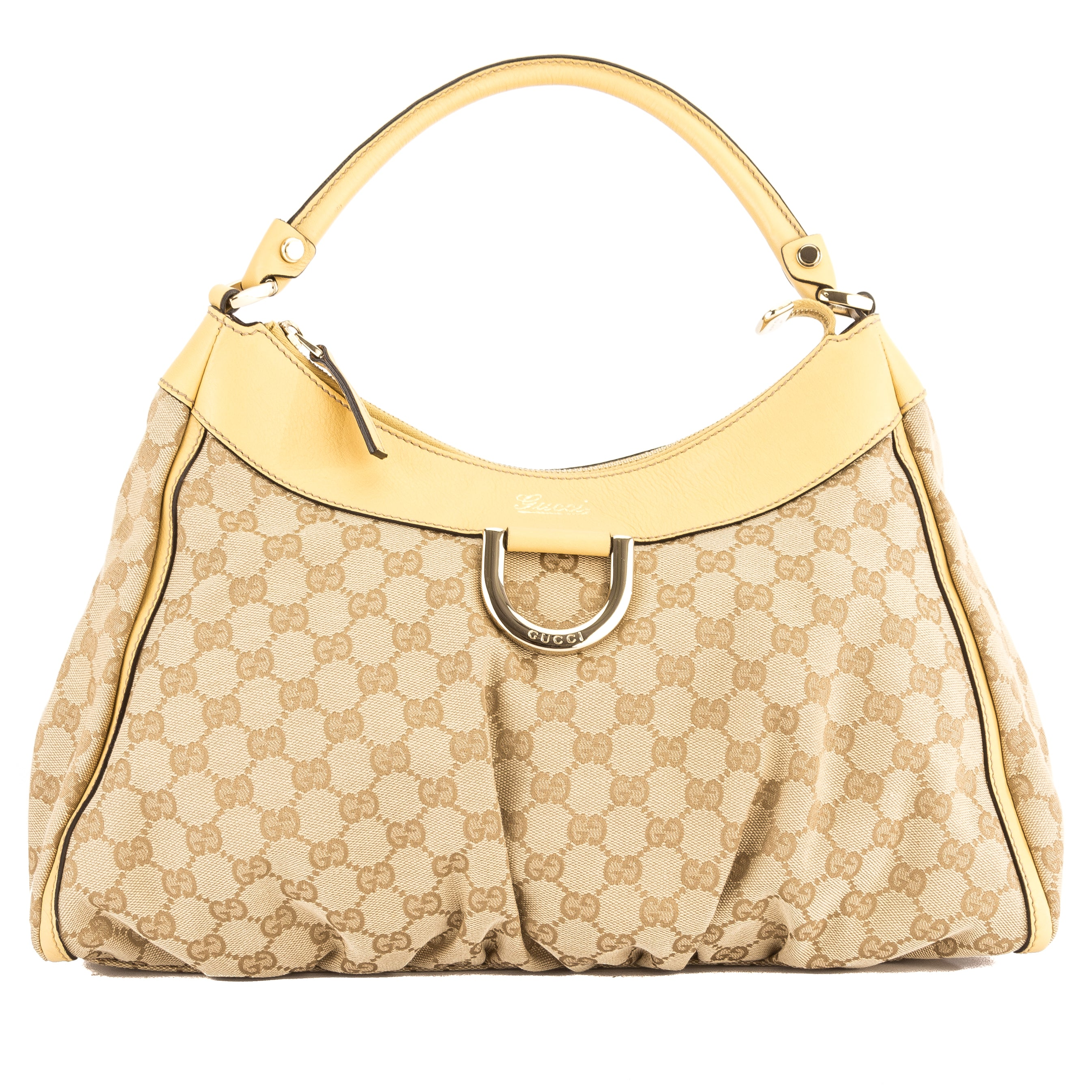 7785ba952c8 Gucci Yellow Leather GG Monogram Canvas Abbey D-Ring Hobo Bag Pre Owned