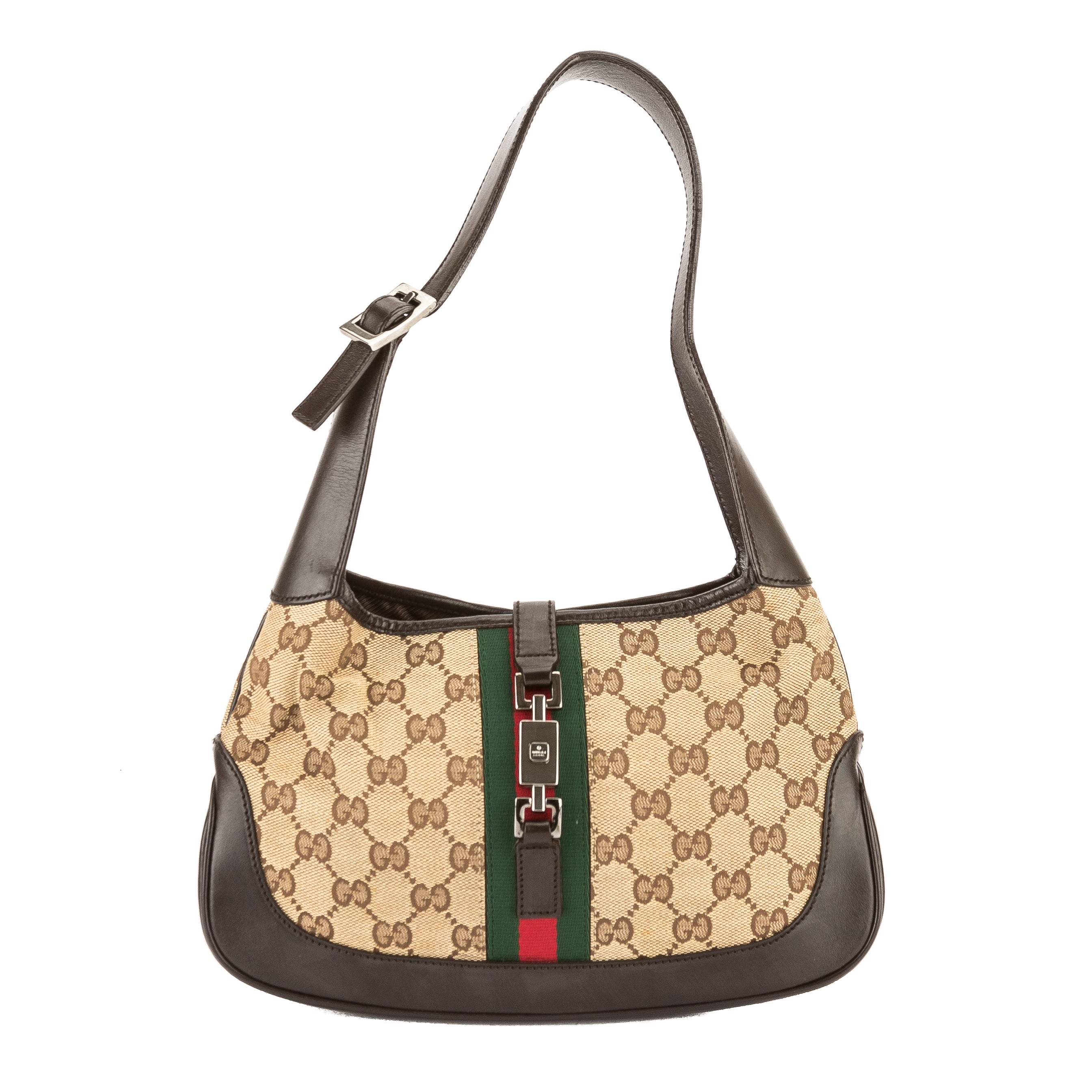 bbce5077f452ae Gucci Brown Leather GG Monogram Canvas Jackie Bag (Pre Owned ...