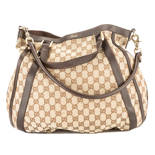 Gucci Brown Leather GG Monogram Canvas Convertible Abbey Hobo Bag (Pre Owned)