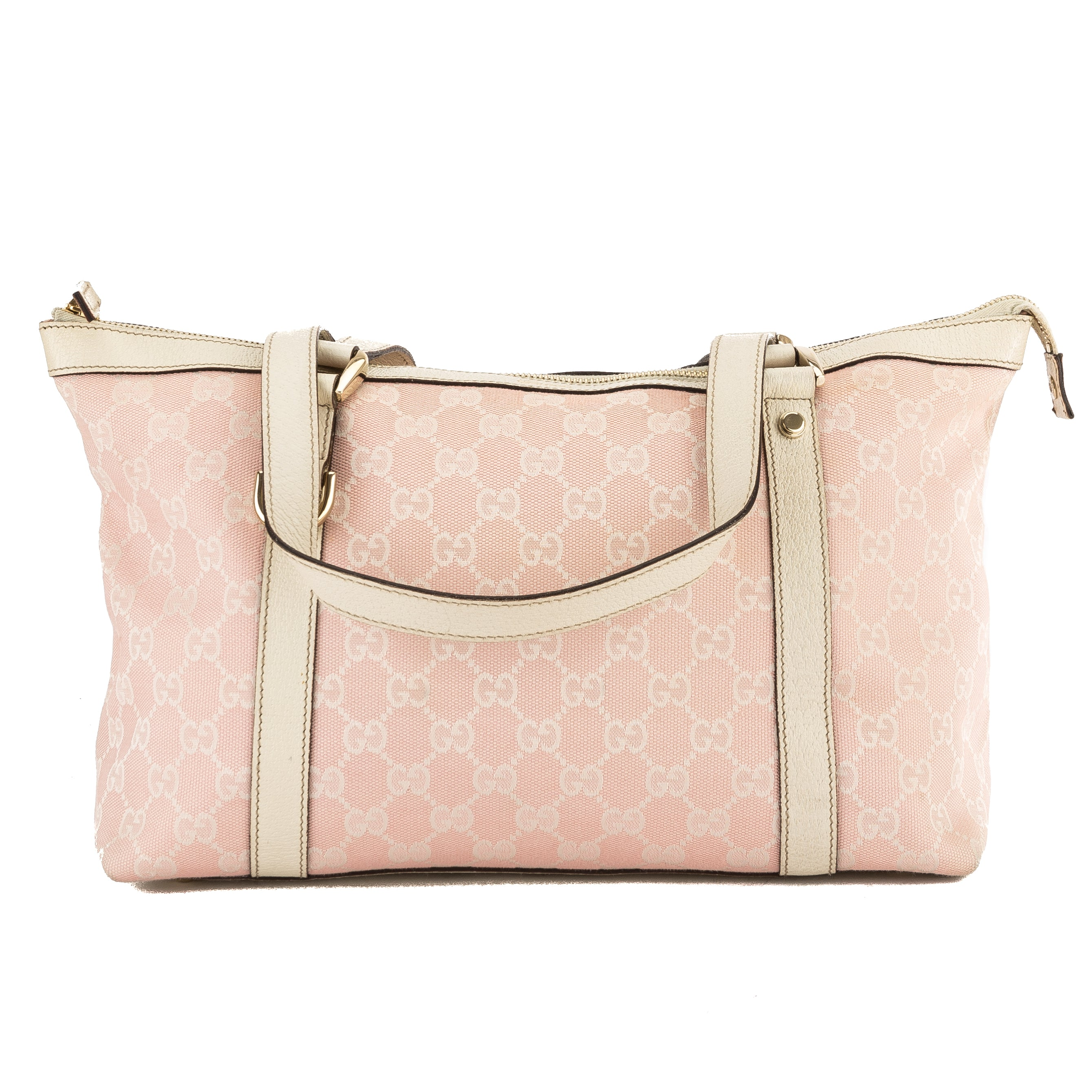 ece5ccbe95a7 Gucci Pink and White GG Monogram Canvas Medium Abbey Tote Bag Pre Owned
