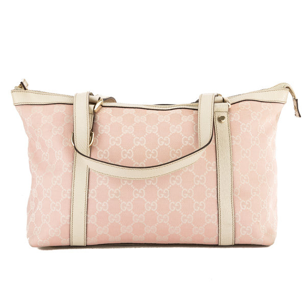 3a2f9a0e Gucci Pink and White GG Monogram Canvas Medium Abbey Tote Bag (Pre Owned)