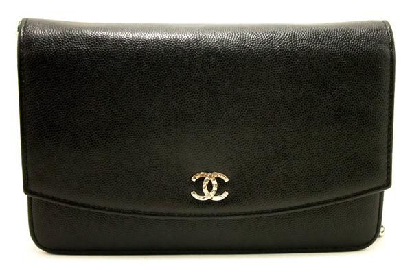 Chanel Black Caviar Wallet On Chain WOC (SHB-10008)