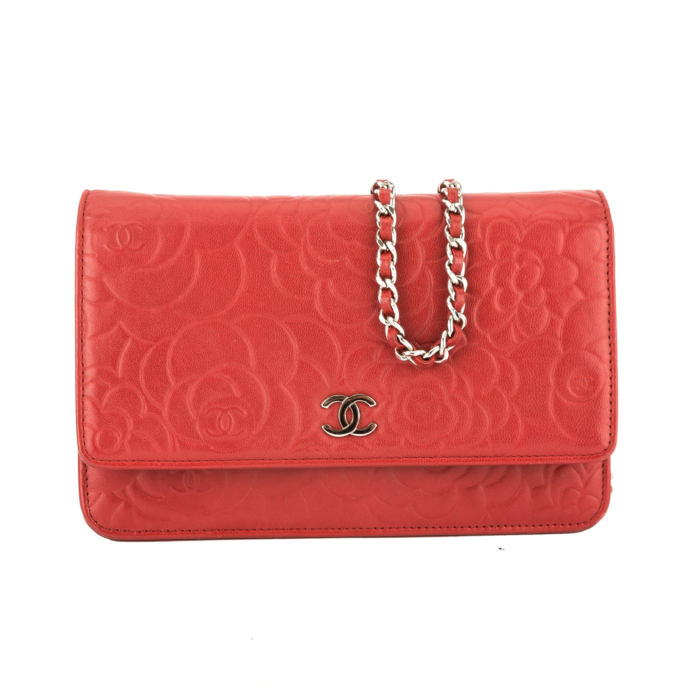 039c9665f68e79 Chanel Red Lambskin Leather Camellia Wallet On Chain WOC (3829010 ...