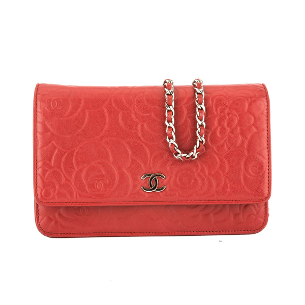 acd4d6fc225d Chanel Red Lambskin Leather Camellia Wallet On Chain WOC (3829010 ...